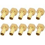 Conector de Latón, 10 piezas Manguera Conector, Conector Roscado Hembra 10 mm 1/2'G Adaptador, Conexión rápida Conector de Manguera de latón Tanque de Manguera de Gas Conector Rápido