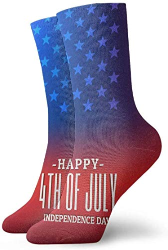 4th of July American Flag Non Slip Compression Socks Cozy Athletic 11.8 Inch Crew Socks For Men, Women, Kids