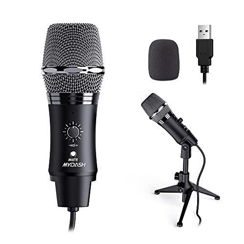 MYDASH USB Mikrofon PC Kondensator Mikrofone mit Ständer, Microphone für Gaming, Aufnahme, Podcast, Streaming, Voice Overs, Broadcast, YouTube, Spiele - Schwarz K380Z