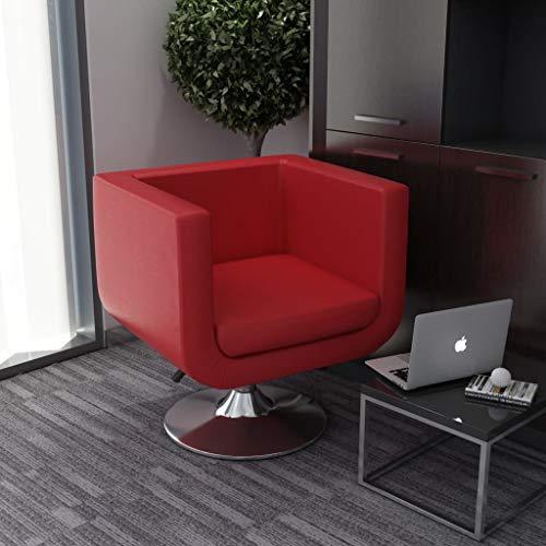 UnfadeMemory Drehsessel Kunstleder Bar-Sessel Drehbar Loungesessel Relaxsessel Höhenverstellbar Gepolsterte Sitz Verchromte Stahlfuß für Wohnzimmer Schlafzimmer oder Büro (Rot)