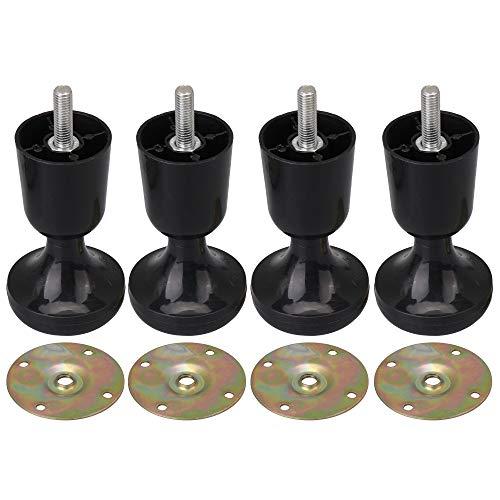 RDEXP Kunststoff-Bettrahmenfüße, stabile Beinerhöhungen, lange Gewindeplatten, 11,6 cm, Schwarz, 4 Stück