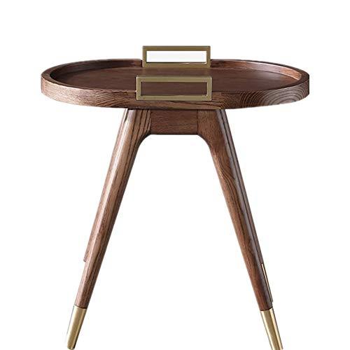 Mesa de centro retro mesa auxiliar con mango de metal moderna mesita de noche acento mesa de centro para sala de estar, dormitorio, balcón, familia y oficina mesa de centro de vidrio templado ovalado
