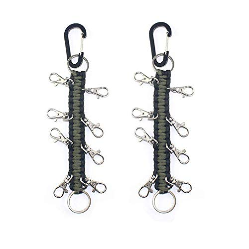 2 Pack Cheer Bows Holder, Paracord Cheer Bows Holder Paracord Keychain for Teen Girls Cheerleader Sports (Black & Army Green)