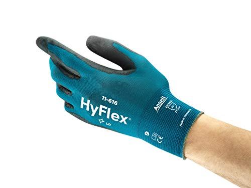 Ansell HyFlex 11-616 Mehrzweckhandschuhe, Mechanikschutz, Schwarze, Größe 7 (12 Paar pro Beutel)