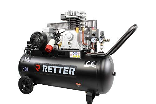 Kompressor Druckluftkompressor RT4100 (max. 10 bar, 100L, 3PS, Ölschmierung, Druckminderer, Manometer + 2 Schnellkupplung, Rückschlag-/Sicherheitsventil)