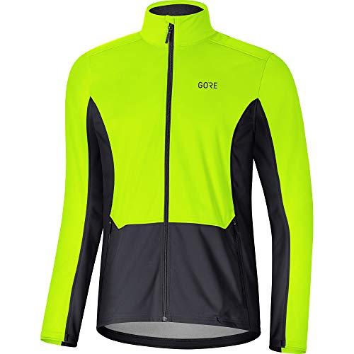 GORE Wear R3 Herren Jacke GORE WINDSTOPPER, L, Neon-Gelb/Schwarz
