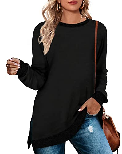 WEESO Black Crew Neck Sweatshirts for Women Long Winter Sweaters Tunic X-Large