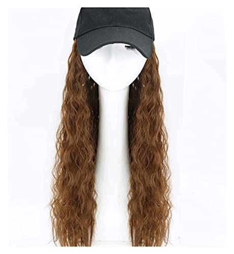 Jsmhh Baseball Cap Wig Hat Fluffy Natural Wave Wig Women's Baseball Cap Men Funny Peaked Cap Wig Decoration Sun Hat Wool Roll (Color : Light brown, Size : 63CM)