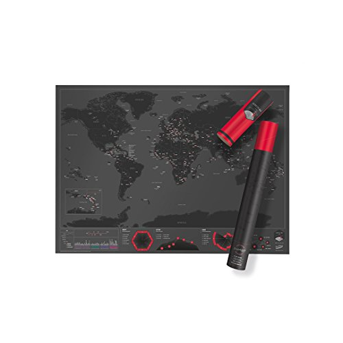 World Scratch Map Capitals Edition – Premium Scratch Off Map – World Scratch Poster with Countries, Cities, Capitals, & Landmarks – Fun & Vibrant Colors – Perfect Gift For Travelers – Black