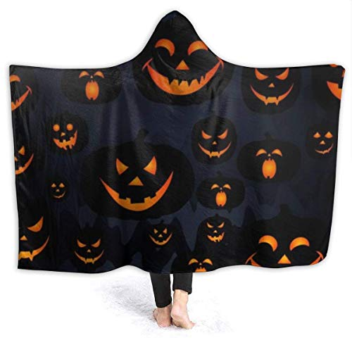 Happy Halloween Funny Pumpkins Micro Flannel Wearable Hooded Throw Blanket Lightweight Super Fluffy Fleece Bed Blanket Fit Sofa Suitable for All Season