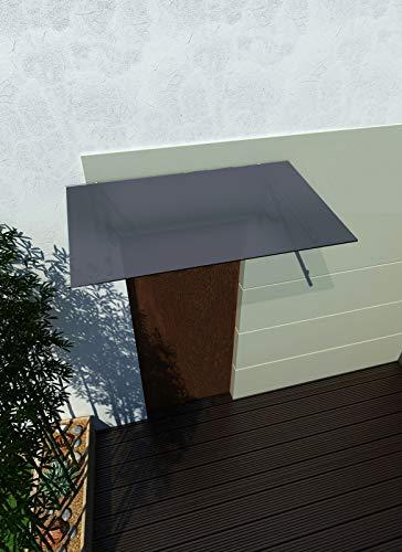 200 x 90 cm (2 Haltestangen) Glasvordach Grauglas Vordach Türvordach Türdach Haustür Anthrazit Glas Edelstahl VSG