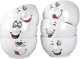 Juego de 6 de cerámica color blanco cara sonriente cuencos