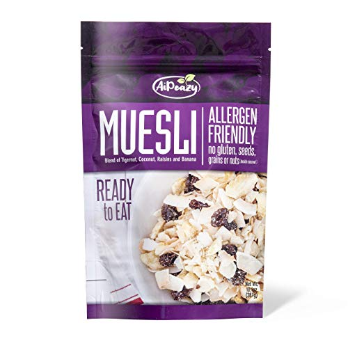AiPeazy Muesli - Gluten Free, Paleo Mix for Breakfast, Snacks, Cereal & More - with Organic Raisins, Tigernut, Coconut & Banana - 10.1oz
