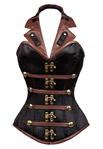 Charmian Women's Heavy Strong Steel Boned Halter Goth Vintage Steampunk Overbust corsé Top with Buckles Black Large
