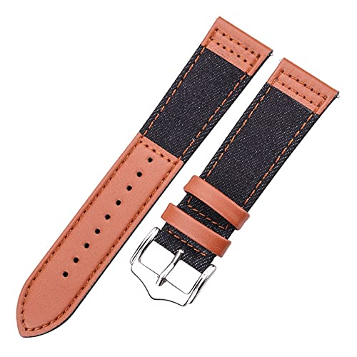 JUSU Store 22 mm Galaxy Watch Strap Fit para Samsung Gear S3 46mm WheamBand Huawei Watch GT Band Smart Watch Accesorios Pulsera de Cuero Genuino (Band Color : Black, Band Width : 22mm)