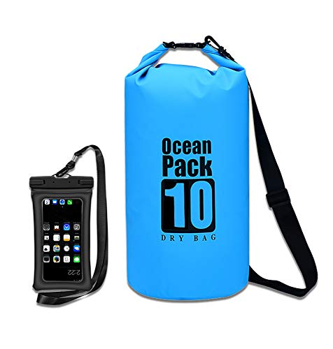 HGREAT Waterproof Floating Dry Bag, Lightweight, Roll Top Compression Sack Keeps Gear Dry for Boating, Swimming, Camping, Hiking, Rafting,Kayaking, Skiing with one Waterproof Phone Case. (Blue, 30L)
