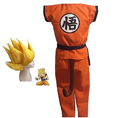 100-140Cm Niños Dragon Ball Z Disfraz De Cosplay Niños Halloween Top + Pant + Belt + Tail + Wrister + Wig Son Goku Cosplay Disfraces Niños L Disfraz Y Peluca 1