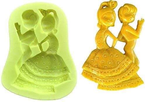 Siliconen mal voor artisanaal gebruik van een paar spaanse flamencodansers voor mannen en vrouwen - ook geschikt voor zeep