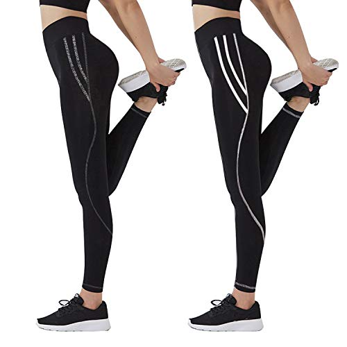 GoVIA Damen Sporthose Training Leggings Laufhose streche elastische Fitness Yoga Leggings 4111 Weiß+Grau XS/S
