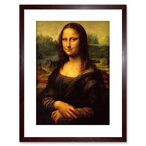 Wee Blauwe Coo Schilderij Portret Studie Da Vinci Mona Lisa Detail Omlijst Muur Art Print