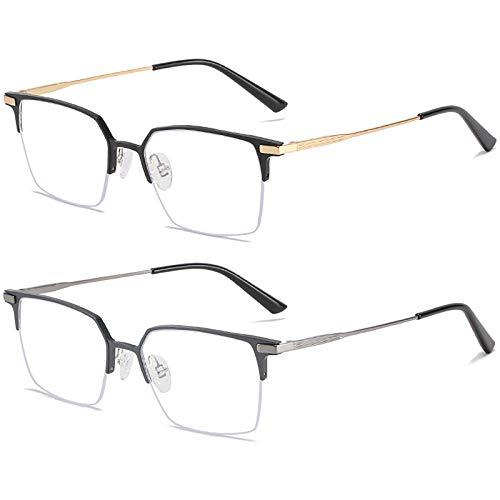 Bias&Belief Pack de 2 Gafas con Bloqueo de luz Azul Juego de computadora Gafas Marco de anteojos Cuadrados Gafas para Juegos de Lectura Anti-Fatiga Ocular para Mujeres y Hombres,D