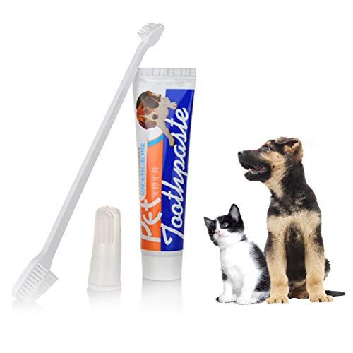Calayu tandpasta voor honden en tandenborstels, set van 3 stuks, tandenborstels voor katten en honden