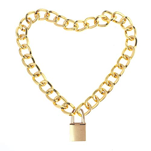 Lover Heart Padlock Necklace Metal Padlock Collar Choker for Men Women with Lock and Key