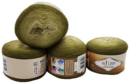 Angora gold Ombre 4 ovillos de lana Alize de 150 g, 600...