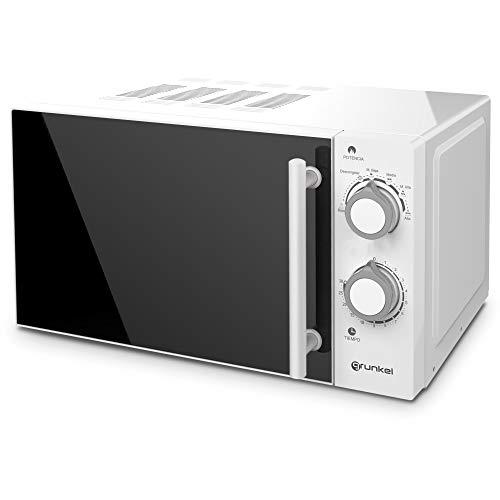 Grunkel - MW-20SF - Microondas blanco de 20 litros de capacidad y 6 niveles de potencia. Función descongelación y temporizador hasta 30 minutos - 700W - Blanco