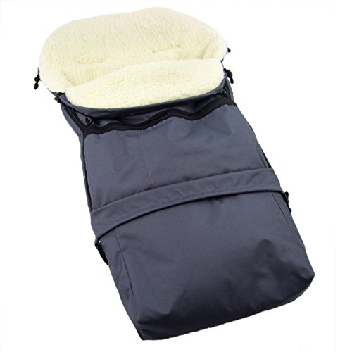 Rawstyle Winterfußsack 3 in 1 aus LAMMWOLLE (Dunkelgrau) 110cm & 85cm *35 Designs* für Kinderwagenschale, Kinderwagen, Schlitten und Buggys Fußsack Wolle