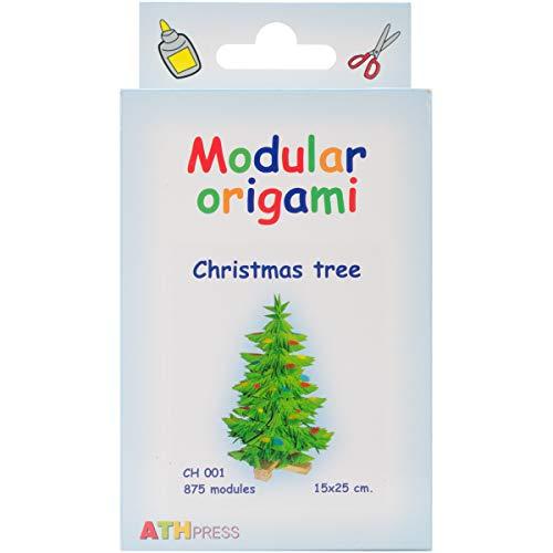 Origami Modular, Juego de 875 Piezas de Papel, árbol de Navidad pequeño, Multicolor