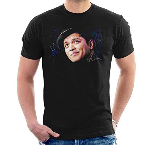 VINTRO Camiseta para hombre con diseño de Bruno Mars Hat, retrato original de Sidney Maurer