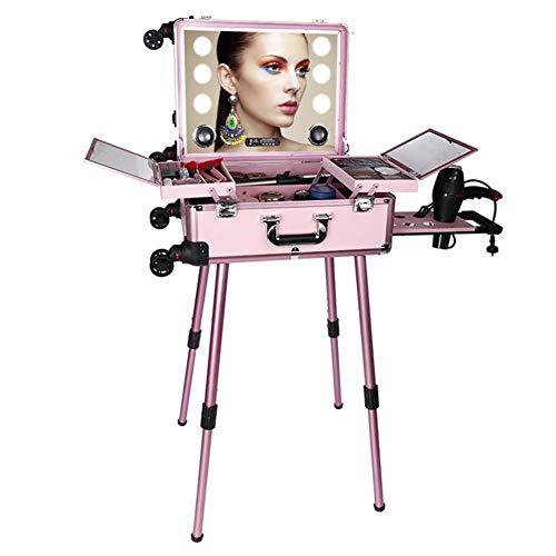HLDWXN Trolley Kosmetikkoffer Schminkkoffer Rollkoffer, mit LED-Licht, Bluetooth-Lautsprecher, Halterung, Universalrädern, Einstellbarer Helligkeit