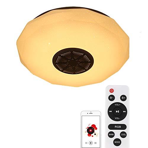 ALLOMN Plafoniera a LED, Plafoniera Smart Bluetooth Music Luce Cambiante di Colore RGBW Dimmerabile con Telecomando per Altoparlanti Bluetooth, Luminosità Regolabile (18W, Cielo Stellato A Bluetooth)