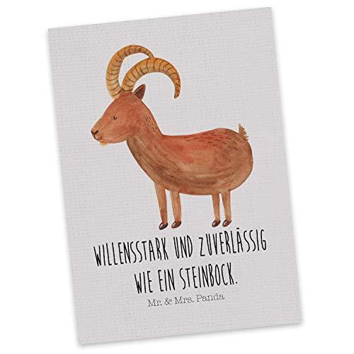 Mr. & Mrs. Panda Einladung, Karte, Postkarte Sternzeichen Steinbock mit Spruch - Farbe Grau Pastell