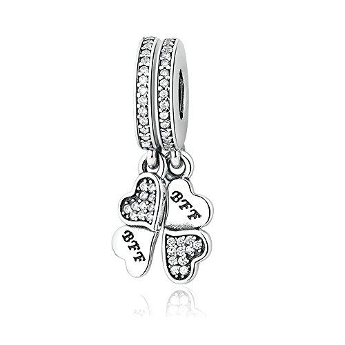 Cooltaste Ciondolo Best Friends Forever in autentico argento Sterling 925,adatto per braccialetti Pandora e realizzare altri tipi di gioielli