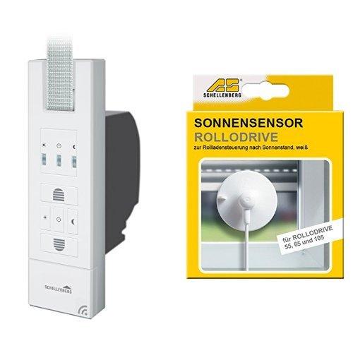 Schellenberg Smart Home Funk-Rollladengurtantrieb weiß + Schellenberg Sensor für RD55, RD65 und RD105, weiß, 22720