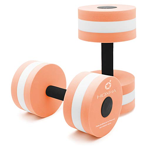 HOXHA Water Dumbells, Aquatic Exercise Dumbell Set of 2 Water Aerobic Exercise Foam Dumbbells Pool Resistance Water Fitness Equipment for Weight Loss (Orange)