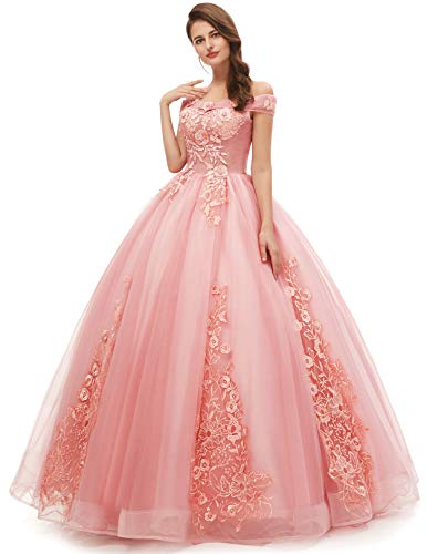 Okaybrial Women's Sweet 16 Quinceanera Dresses Blush Pink Off Shoulder Lace Long Prom Ball Gowns Size 10