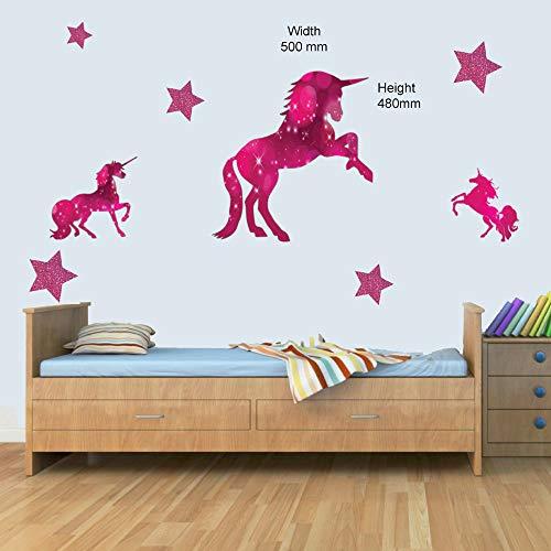 3 x Pink Einhorn & Sterne Kinder-Wandtattoo, Vinyl-Aufkleber, Mädchen Schlafzimmer Kinderzimmer, Vinyl, rose, Lage