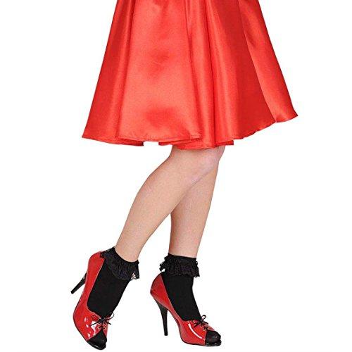 NET TOYS Süße Schwarze Rockabilly Rüschensocken Spitze Söckchen Vintage Knöchelsocken Garde Rüschen Socken Rock n Roll Strümpfe 50er 60er Jahre Kostüm Zubehör