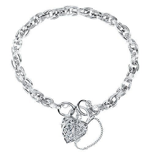 Citerna Women's 9 ct White Gold Padlock Charm Bracelet with Safety Chain of Length 19 cm