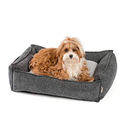 JAMAXX Premium Hundebett Orthopädisch Memory Visco Schaum Waschbar Abnehmbarer Bezug Wasserabweisend - Weiches Sofa Hundekorb Hunde-Körbchen mit Wendekissen / PDB2004 (S) 65x50 grau