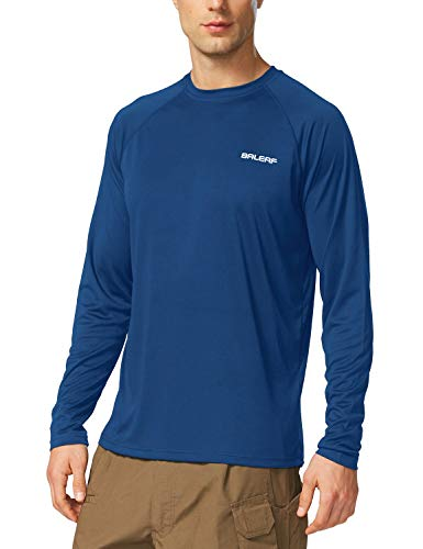 BALEAF Men's UPF 50+ Sun Protection Shirt SPF Long Sleeve Running Outdoor T-Shirt Athletic Lightweight Top Ocean Blue Size XXL