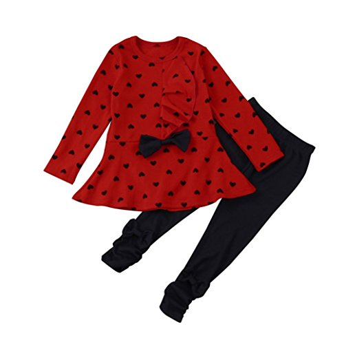 style_dress Baby Kleidung Set Baby Junge Mädchen Bluse T-Shirt + Hosen Outfits Set Bekleidungsset mit Spielanzug Set (Rot, 2-3 Jahren)