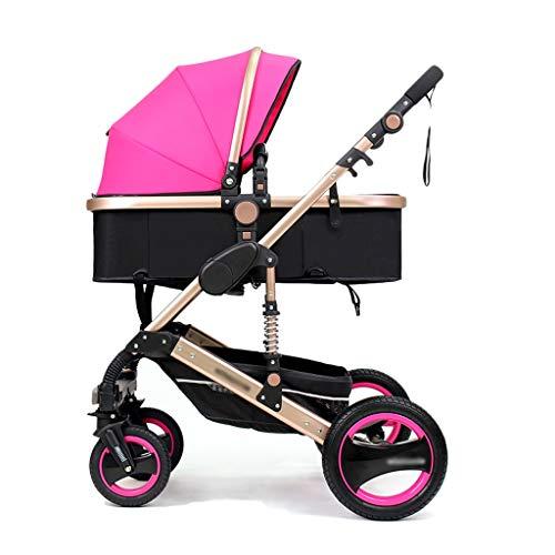 3 en 1 poussettes poussette poussette poussette bébé Landau Safe & Care Système de voyage réglable jogger à 4 roues (Color : Rose)
