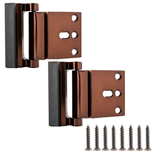 Amazon Basics - Sistema antieffrazione per porta, a cerniera, bronzo lucidato a olio, confezione da 2