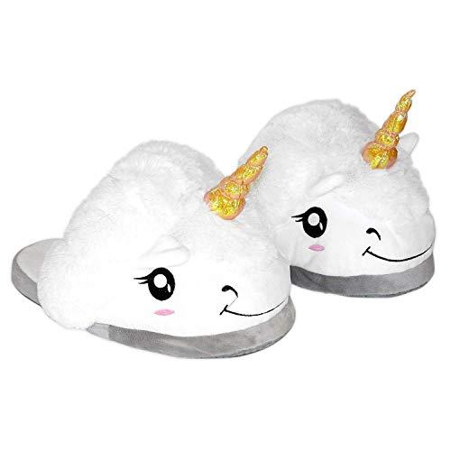 Funky Planet Damen Einhorn Hausschuhe Plüsch Pantoffeln Kostüm Unicorn - Einheitsgröße für...