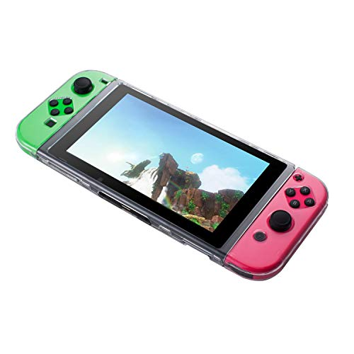 Insten Crystal Clear Case Compatible with Nintendo Switch Console Joy Con [Joy-Cons Case Separated] Slim Hard Shell Full Body Transparent Cover [3 Segment Design] Compatible with Nintendo Switch