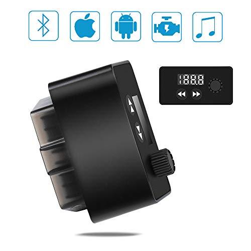 Gelrova Escáner OBD2 con Reproductor de música Car - con Lector de códigos OBD2 de la versión Bluetooth, Compatible con iOS y Android, Adaptador de Lector OBD2 Herramienta de diagnóstico del Motor
